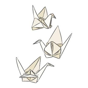 Rabiscos de cisne de papel de origami.