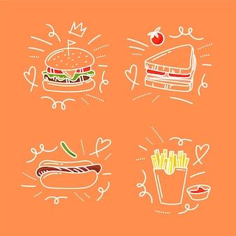 Rabiscos de comida desenhados à mão