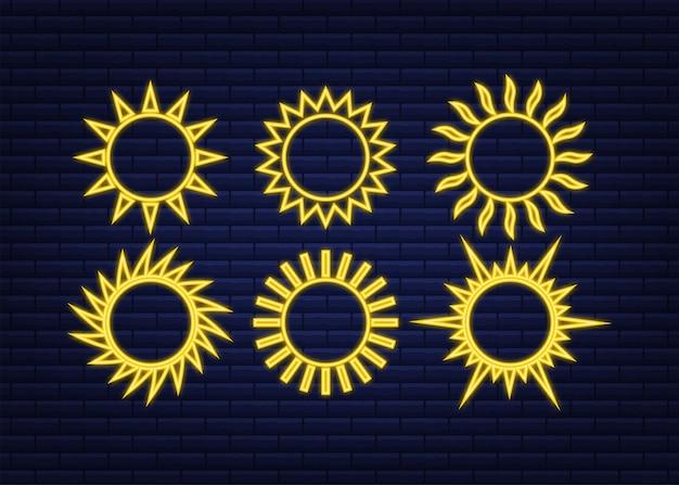 Rabiscos de ícone do sol isolados sobre fundo azul. temporada de summes. conjunto de néon do sol.