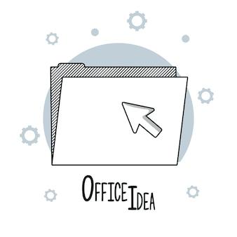 Rabiscos de idéias de escritório