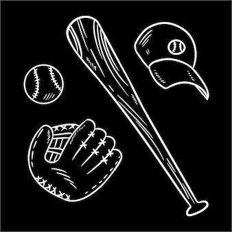 Rabiscos de lousa de beisebol, taco de beisebol, chapéu e catchig luva.