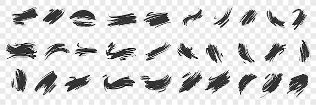 Rabiscos de mão pincel doodle conjunto