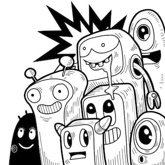 Rabiscos de monstros fofos