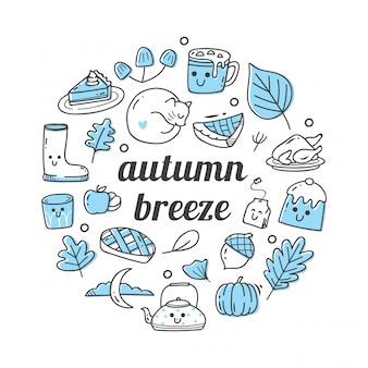 Rabiscos de objetos relacionados da temporada outono
