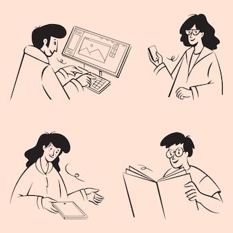 Rabiscos de pessoas de negócios. linhas desenhadas à mão arte estilo design ilustrações