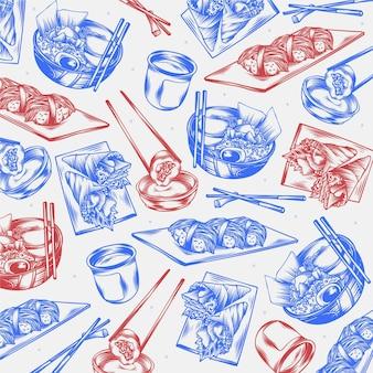 Rabiscos de restaurante gravados desenhados à mão