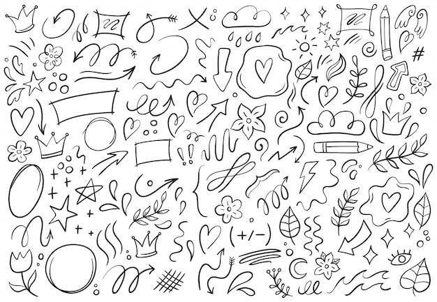 Rabiscos decorativos. mão desenhada apontando seta, formas de contorno e conjunto de ilustração de quadros de doodle