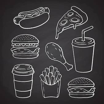 Rabiscos desenhados à mão de hambúrguer, cachorro-quente, pizza, cheeseburger, conjunto de ilustração vetorial de fast food