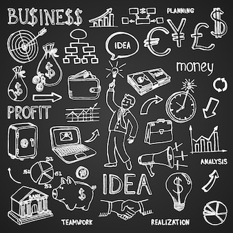 Rabiscos desenhados à mão de negócios em contorno branco em preto em um padrão denso e espalhado em formato quadrado com imagens e ilustração vetorial de texto