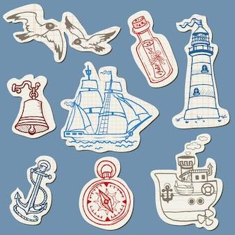 Rabiscos náuticos em papel rasgado - coleção desenhada à mão