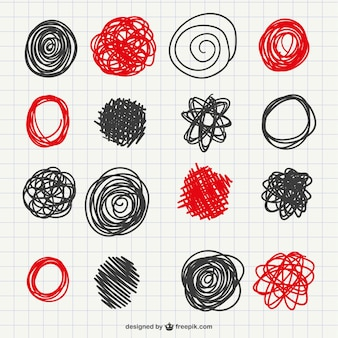 Rabiscos vermelhos e pretos coleção