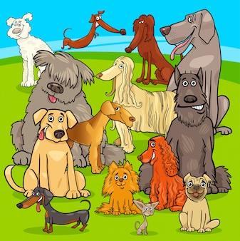 Raça cães grupo de personagens de desenhos animados