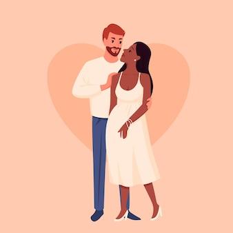 Raça e cultura diferentes, personagens masculinos femininos felizes, casados, esperando um filho, gravidez saudável