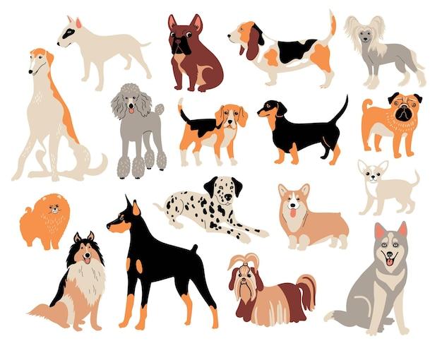 Raças de cães de desenho vetorial. ilustração bonito do doodle. conjunto de diferentes personagens de cães