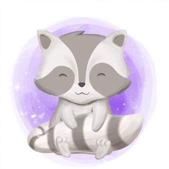 Raccoon de bebê fofo sorriso rosto