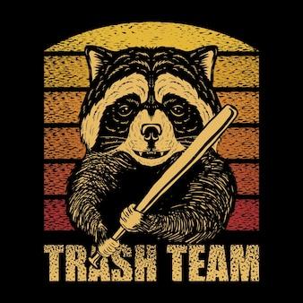 Raccoon stick baseball retrô
