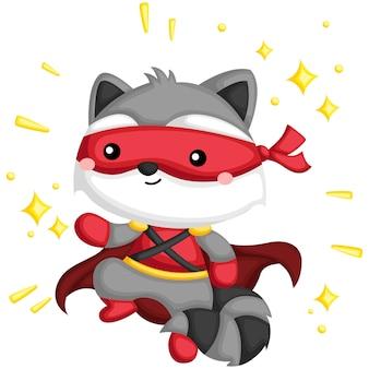 Raccoon superhero usando máscara
