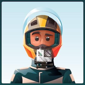 Racer com capacete com câmera