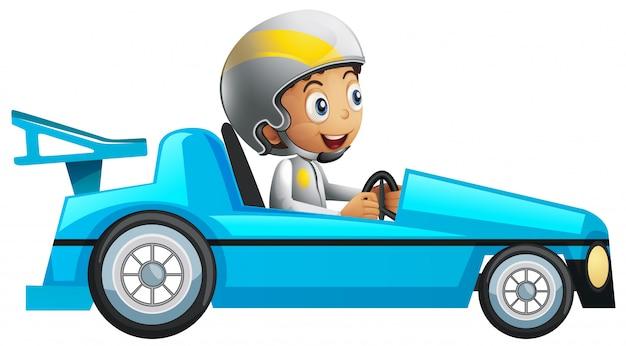 Racer em carro de corrida azul