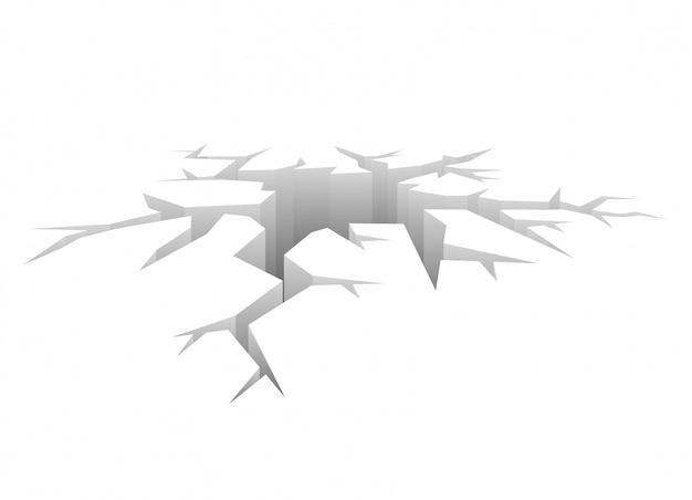 Rachadura de vetor. buraco projetado. conceito de colisão