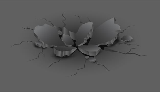Rachadura preta realista de vetor na terra com pedaços de pedras.
