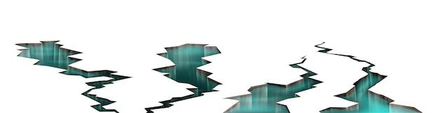 Rachaduras no solo com água dentro, terremoto abrindo buracos com líquido transparente