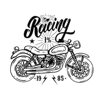 Racing. modelo de emblema com motocicleta motociclista