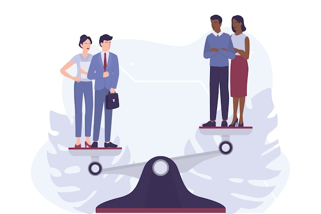 Racismo. discriminação e tratamento desigual com base na raça. homem branco e mulher contra homem e mulher afro-americanos. racismo de recrutamento. em branco.