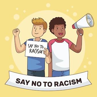 Racismo ilustrado conceito de tema