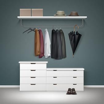 Rack de roupas de metal vetorial, gavetas brancas e prateleira com caixas, jaqueta, casaco, camisas, chapéus guarda-chuva preto, vista frontal de sapatos