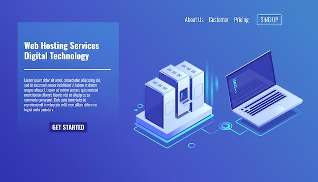 Rack de sala de servidores, administração remota do sistema, serviço de terceirização