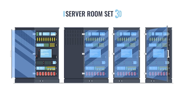 Rack de servidor, conjunto de sala de servidores de cor dos desenhos animados