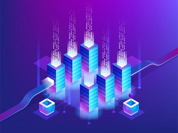 Rack para sala de servidores, tecnologia blockchain, acesso à api de token, data center, conceito de armazenamento em nuvem