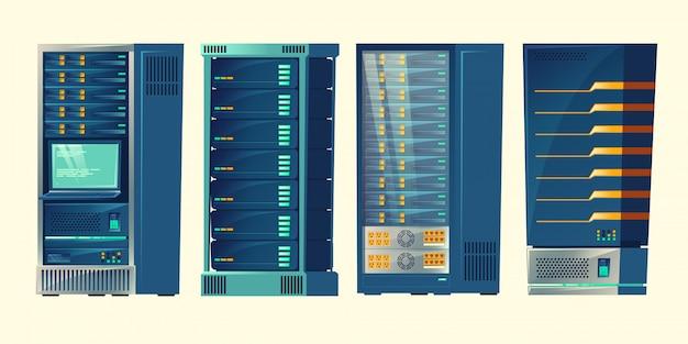 Racks de servidores, sala de banco de dados, data center com conexões de computadores em nuvem