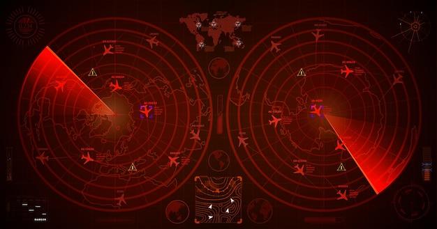 Radar militar detalhado com dois visores vermelhos com traços de aviões e sinais de alvo