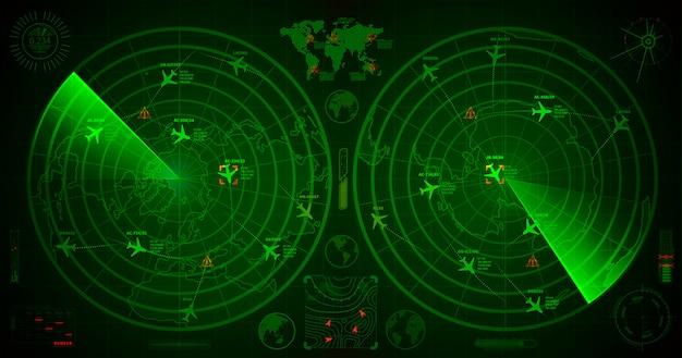 Radar militar detalhado com duas telas verdes com traços de aviões e sinais de alvo