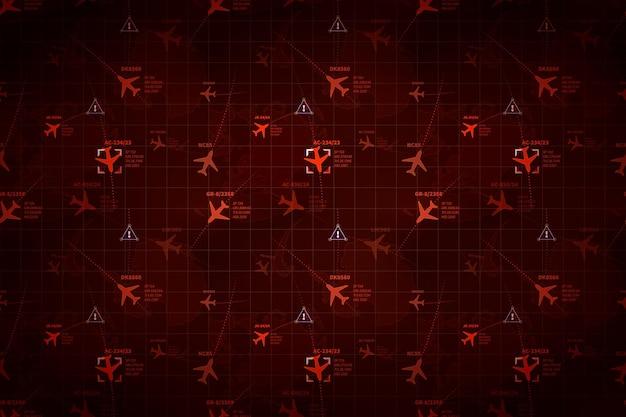 Radar militar vermelho com rastros de aviões e sinais de alvo, fundo amplo e detalhado