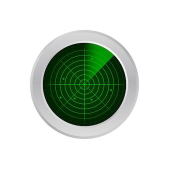 Radar realista na pesquisa. tela de radar com os objetivos. ilustração das ações.