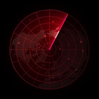 Radar vector realista na busca. tela de radar com os objetivos