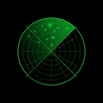 Radar verde isolado em fundo escuro. sistema de busca militar. visor de radar do hud. .