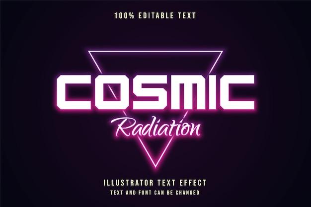 Radiação cósmica, efeito de texto editável gradação roxa e estilo de texto em neon laranja