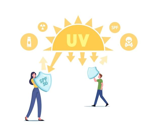 Radiação uv, conceito de proteção ultravioleta solar. personagens com escudos refletem os raios de luz solar do perigo