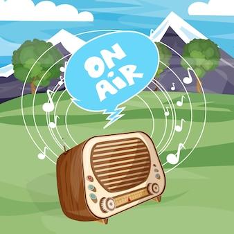 Rádio antigo retrô no ar dos desenhos animados