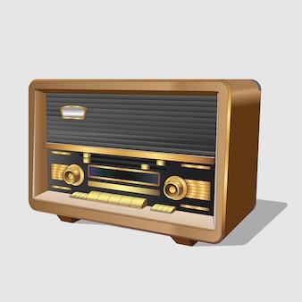 Rádio antigo vintage. rádio antigo clássico em caixa de madeira. rádio antigo retrô realista sobre fundo branco. isolado