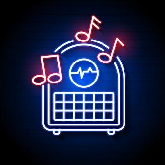 Rádio azul brilhante néon