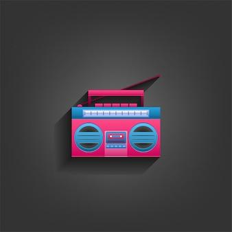 Radio cassette player no estilo de artesanato de papel com cores azuis e rosa