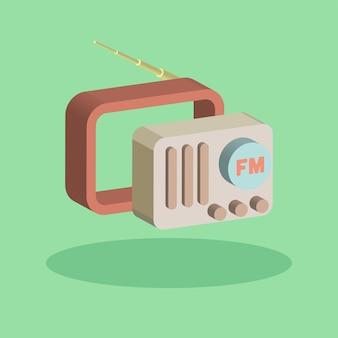 Rádio clássico estilo moderno de 3 dimensões