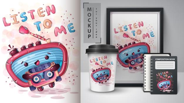 Rádio com poster de cassetes e merchandising