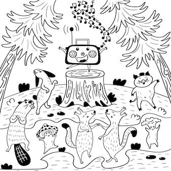 Radio party beasts in the woods. animal discoteca na borda. ilustração em vetor coloração em preto e branco