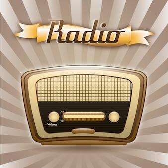 Rádio retrô sobre ilustração em vetor fundo grunge